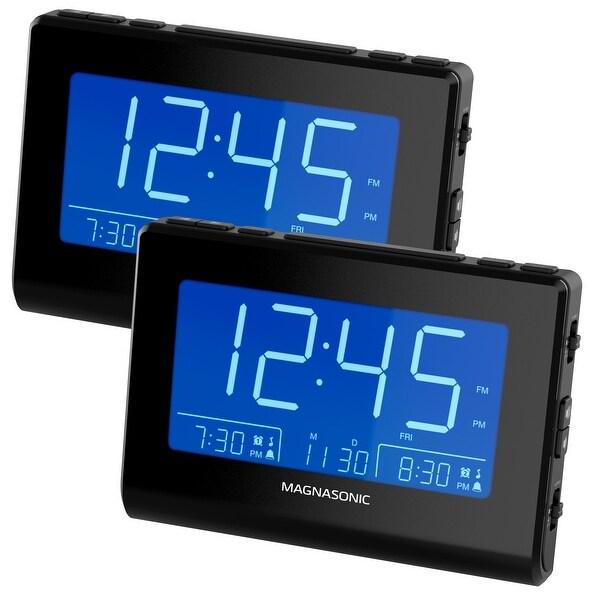 Magnasonic Alarm Clock Radio with USB Charging for Smartphones, Auto Dimming, Dual Gradual Wake Alarm - 2 Pack