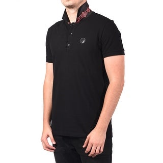 Versace Men Medusa Head Print Undercollar Polo Shirt Black Magenta