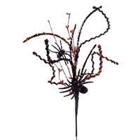 "Pack of 12 Black and Orange Glittered Spider Halloween Floral Sprays 20"""
