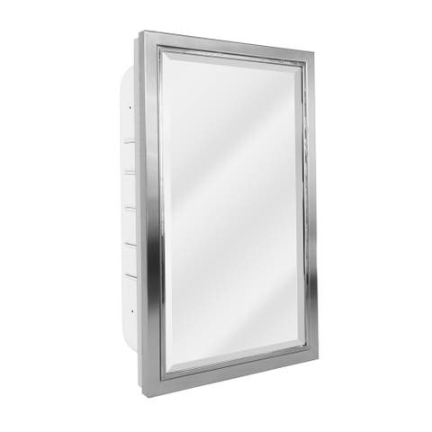 Brushed Nickel and Chrome Recessed Medicine Cabinet Mirror - 16x26 - 16 x 26