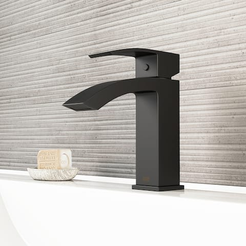 VIGO Satro Matte Black Single Hole Bathroom Faucet