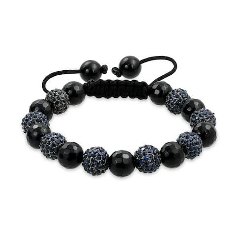 Pave Crystal Ball Shamballa Inspired Bracelet Black Cord