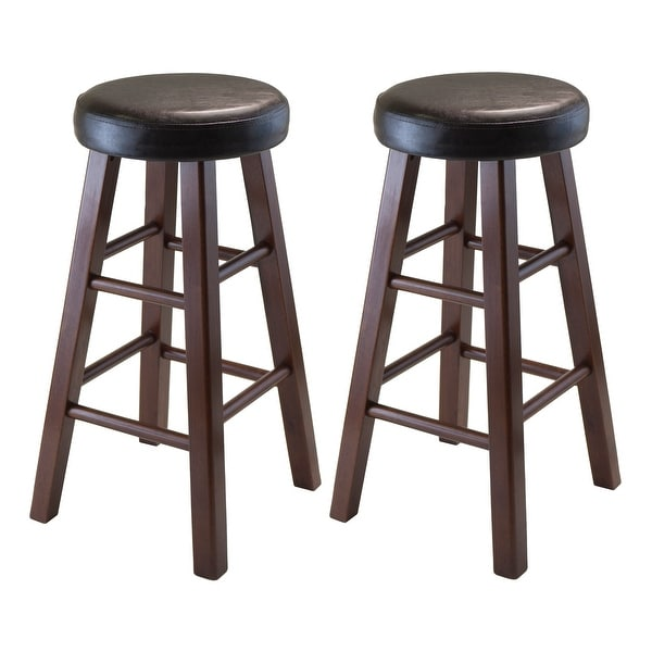 "Set of 2 Black and Brown Round Counter Stool with PU Leather Cushion Seat and Square Legs 25.25"" - N/A"