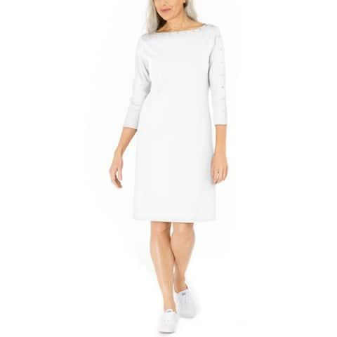 Karen Scott Women's Cotton Studded Swing Dress White Size Extra Small