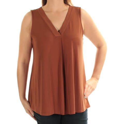ALFANI Womens Brown Sleeveless V Neck Top Size: XXL