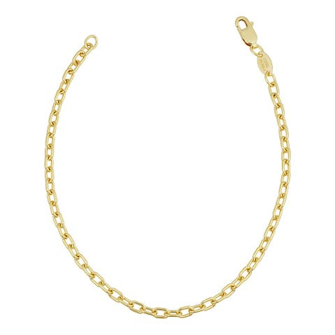 Solid 14k Yellow Gold Filled 3 millimeter Parallel Cable Link Bracelet for Women (7.5 inches)