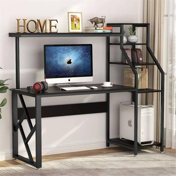 Computer desk with 4-tier storage shelves Workstation Desk - On