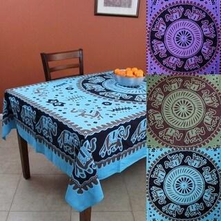 Handmade Elephant Mandala Cotton Tablecloth Rectangular 60x90 Inches Green Purple Turquoise
