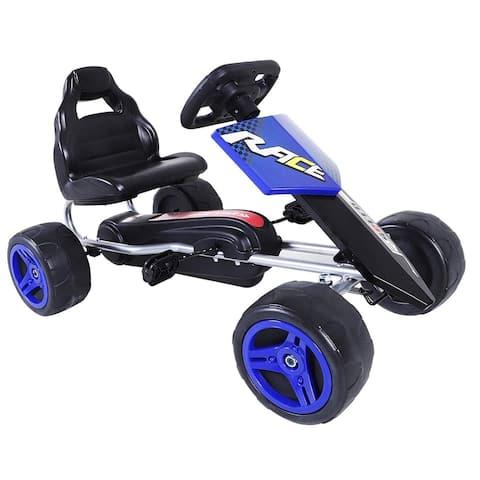 Aosom Kids Go Kart, 4 Wheeled Ride On Pedal Car, Racer for Boys and Girls for Outdoor