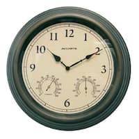 15 Inch Indoor-Outdoor Copper Patina Clock - With Thermometer And