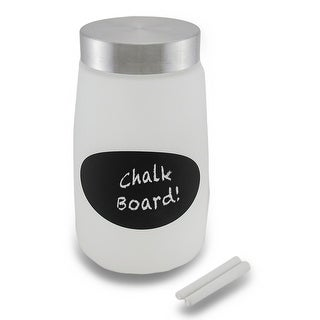 Frosted Glass Storage Jar w/Chalkboard Label and Metal Lid
