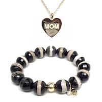 Black & White Agate Bracelet & Mom Heart Gold Charm Necklace Set