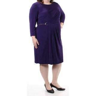 CALVIN KLEIN $109 Womens New 1088 Purple 3/4 Sleeve Faux Wrap Dress 22W Plus B+B