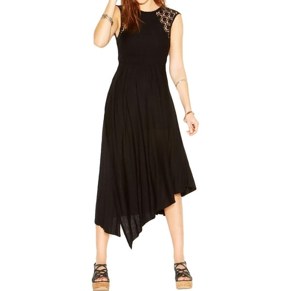 Free People Womens Maxi Dress Open Back Asymmetric