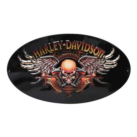 "Harley-Davidson Oval Tin Sign, Biker To The Bone Winged Skull, Black 2010441 - 18"" x 10.5"""