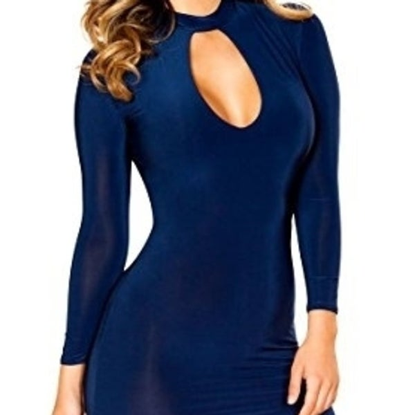 f435114ace46f Shop Roma Costume 3520-Navy-L Long Sleeve Dress With Cutout Detail - Large  - Free Shipping Today - Overstock - 27106692