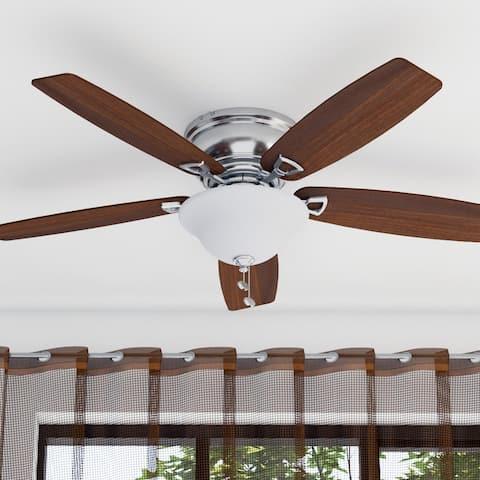 "Honeywell Glen Alden 52"" Brushed Nickel Low Profile LED Ceiling Fan with Light"