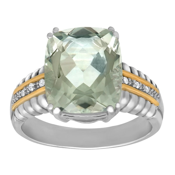 1 ct Green Quartz Ring with Diamonds in Sterling Silver and 14K Gold