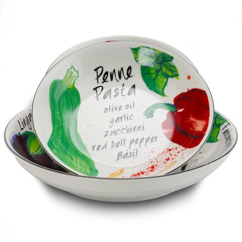Gibson Home Fruit Orchard 5 Piece Ceramic Round Pasta Bowl Dinnerware Set