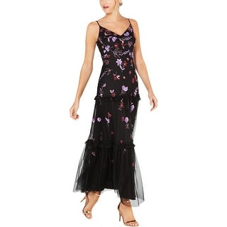 Adrianna Papell Womens Evening Dress Sequined Tiered - Black/Red Multi
