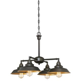 "Westinghouse 6345000 Iron Hill 4 Light 9"" Wide Single Tier Shaded Chandelier with Metal Shades"