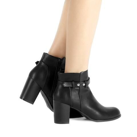 Women's Round Toe Strap Block High Heel Ankle Bootie