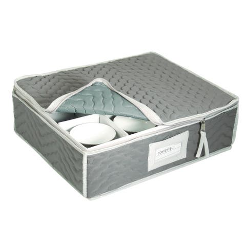 Quilted Microfiber China Cups Storage Chest Grey