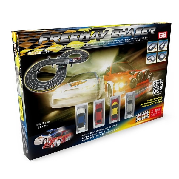 Freeway Chaser Road Racing Slot Car Set - Battery Operated. Opens flyout.