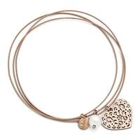 Chisel Stainless Steel Rose IP-plated Polished/Textured Bracelet