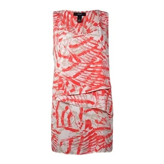 Alfani Women's Printed Crepe Scoop Neck Top (12, Wing Coral) - 12