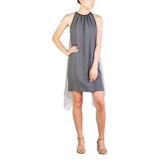 Prada Women's Acetate Viscose Blend Winged Dress Grey - 8