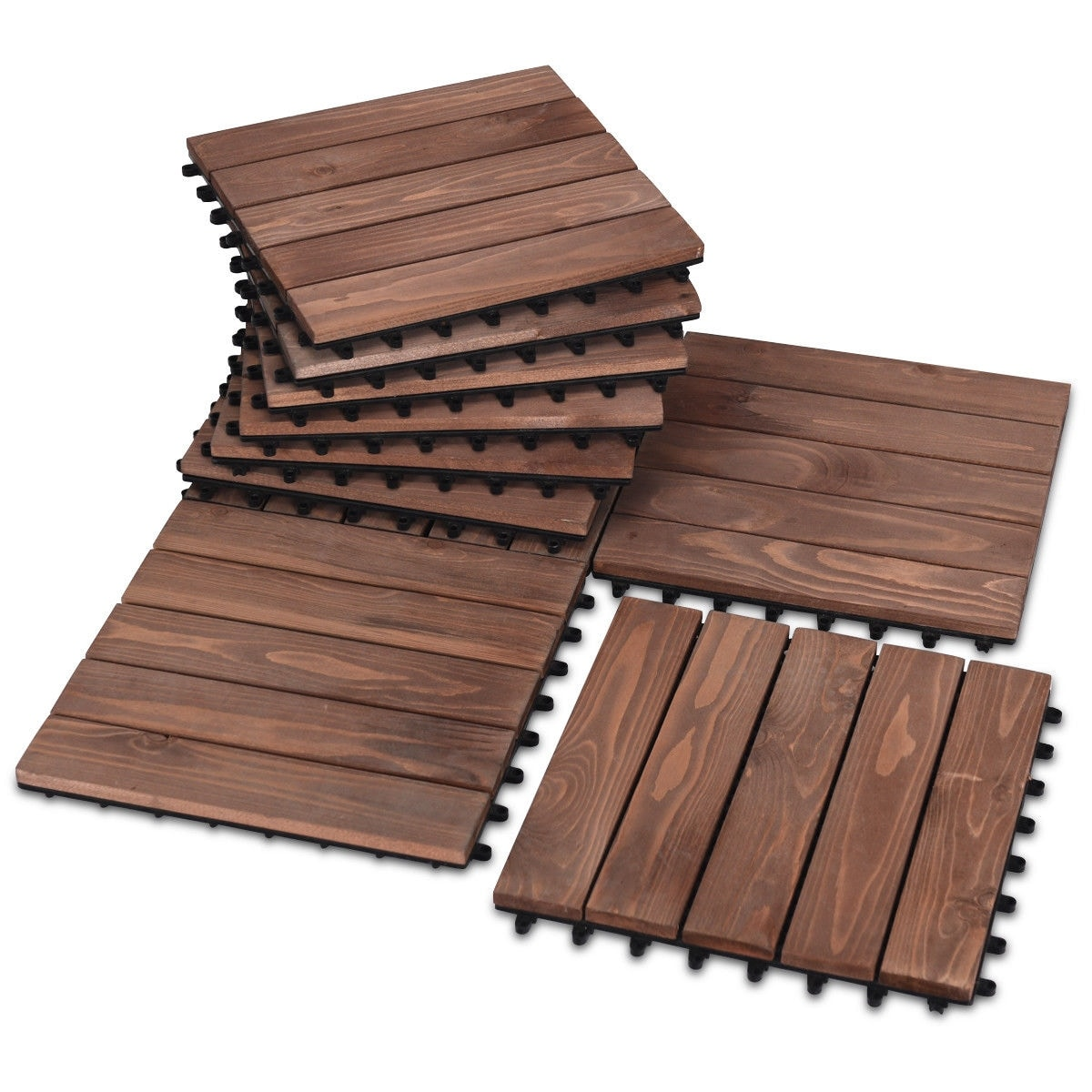 Floor Interlocking Wood Patio Tiles