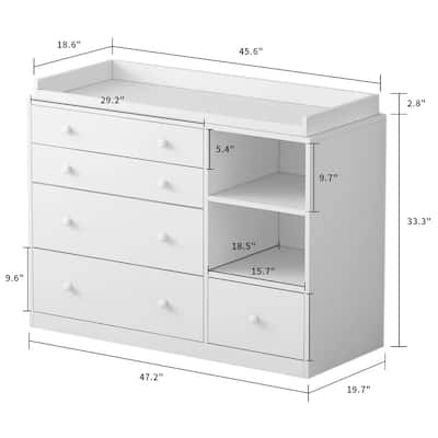 5 Drawers Cabinet Chest Bedroom Storage Bookcase Baby care cabinet