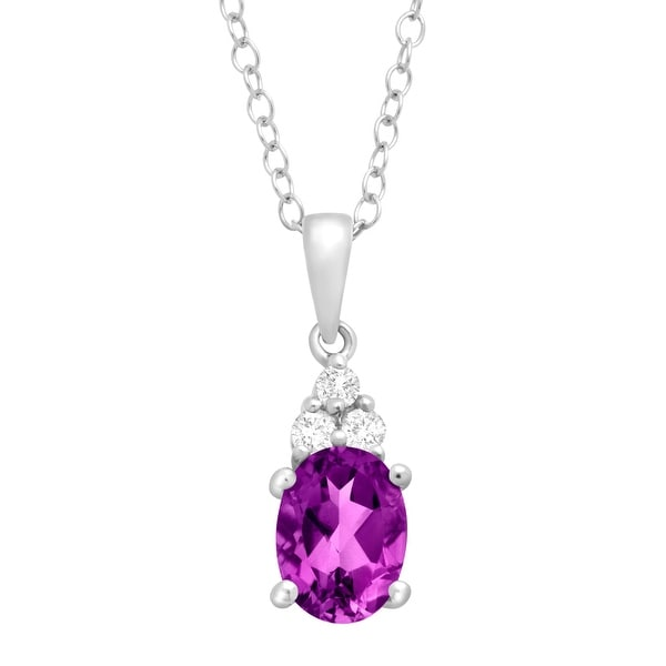 1 1/4 ct Natural Amethyst & White Topaz Pendant in Sterling Silver