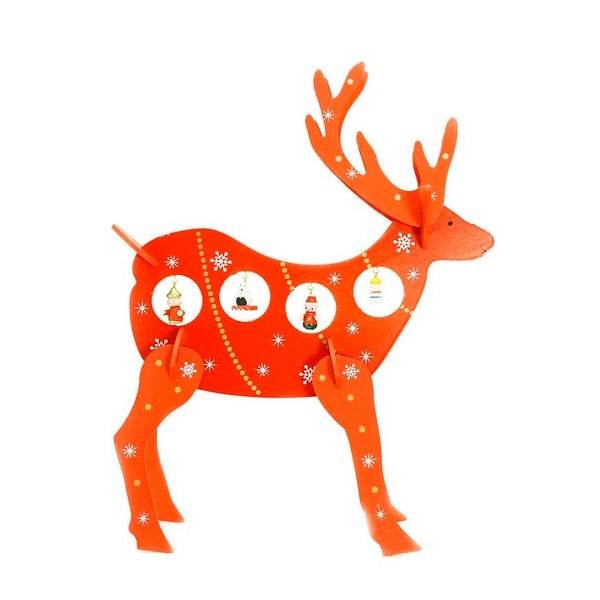 """13"""" Decorative Red Wooden Reindeer Cut-Out Christmas Table Top Decoration"""