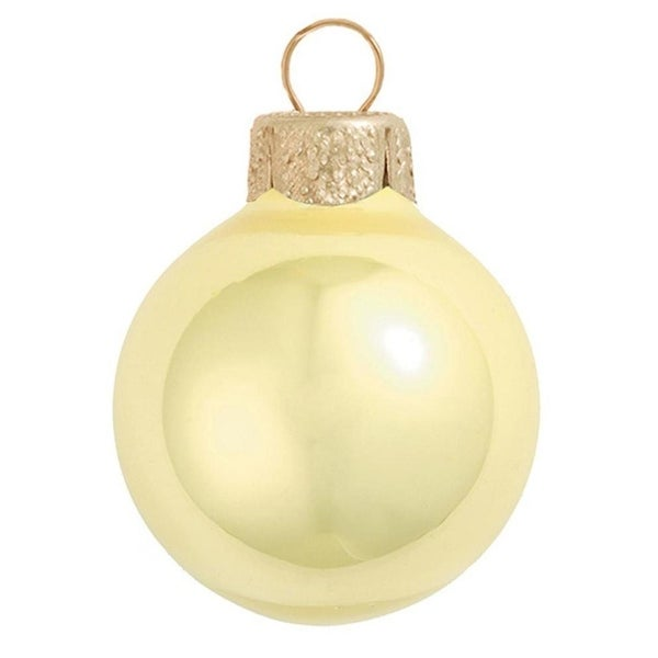 """4ct Pearl Soft Yellow Glass Ball Christmas Ornaments 4.75"""" (120mm)"""