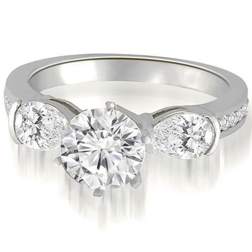 2.00 cttw. 14K White Gold Three-Stone Round And Pear Diamond Engagement Ring