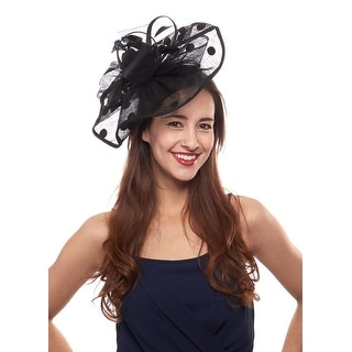 Across the Board Sinamay Fascinator Cocktail Hat with Polka Dots