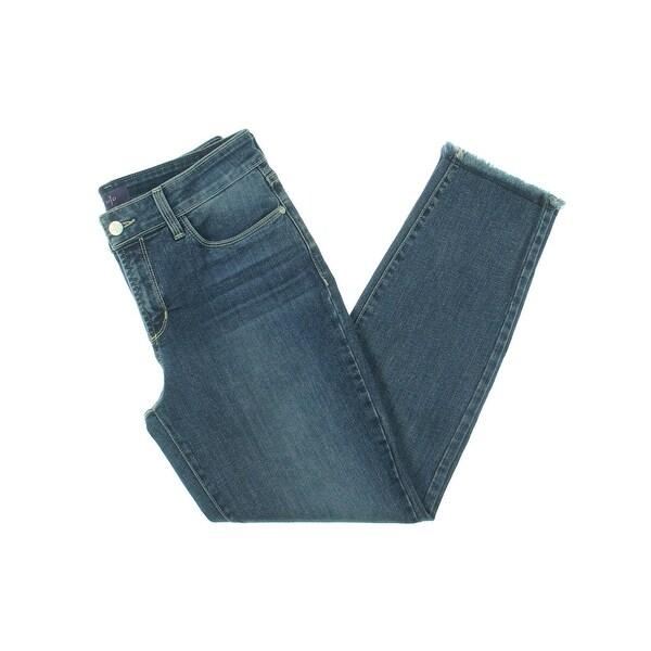 NYDJ Womens Alina Ankle Jeans Frayed Hem Stretch