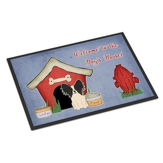 Carolines Treasures BB2830MAT Dog House Collection Papillon Black White Indoor or Outdoor Mat 18 x 0.25 x 27 in.