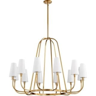 "Quorum International 632-12 Highline 12 Light 45"" Wide Single Tier Chandelier with Glass Shades"