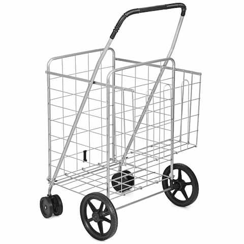 Utility Foldable Jumbo Shopping Cart - Silver