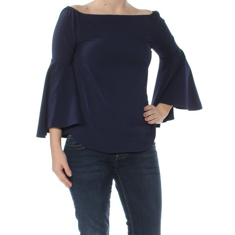 BAR III Womens Navy Bell Sleeve Off Shoulder Top Size: 2XS
