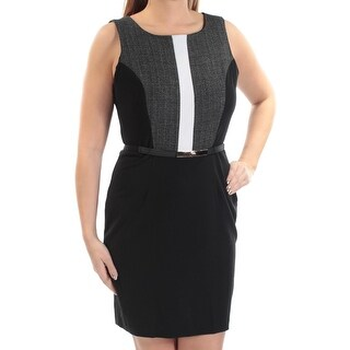 Womens Black Ivory Color Block Sleeveless Above The Knee Sheath Wear To Work Dress Size: 13