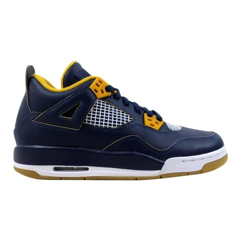 67cc0f343def Nike Air Jordan IV 4 Retro BG Midnight Navy Metallic Gold String-Gold Leaf