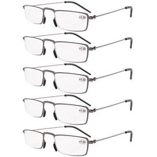 Eyekepper 5-Pack Thin Stamped Metal Frame Half-eye Style Reading Glasses Gunmetal +3.5