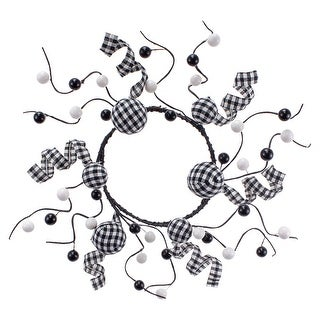 "Link to 4.5"" Black and White Gingham Pattern Candle Ring Similar Items in Decorative Accessories"