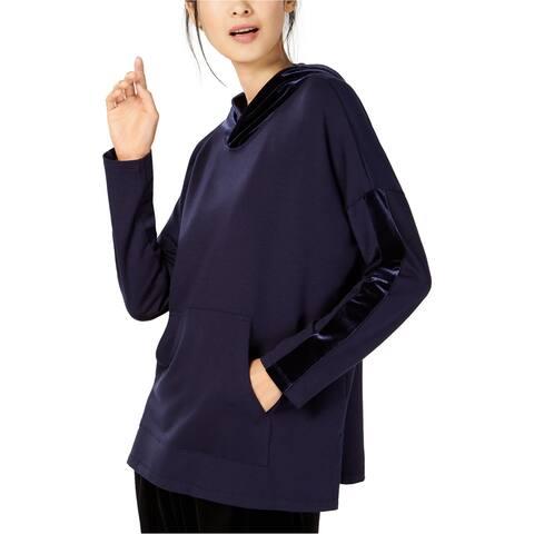 Eileen Fisher Womens Velvet Trim Hoodie Sweatshirt, Blue, PP