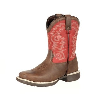 Durango Western Boots Boys Little Kid Stockman Leather Brown DBT0139