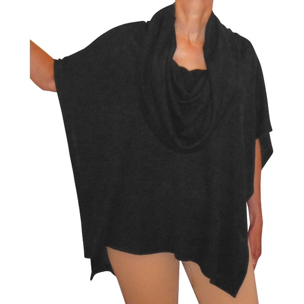 Funfash Plus Size Clothing Black Cowl Neck Poncho Shawl Wrap Cape Made in USA